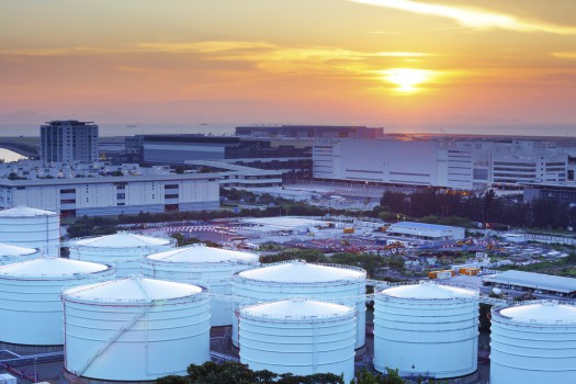 Oil tanks for cargo service during sunset